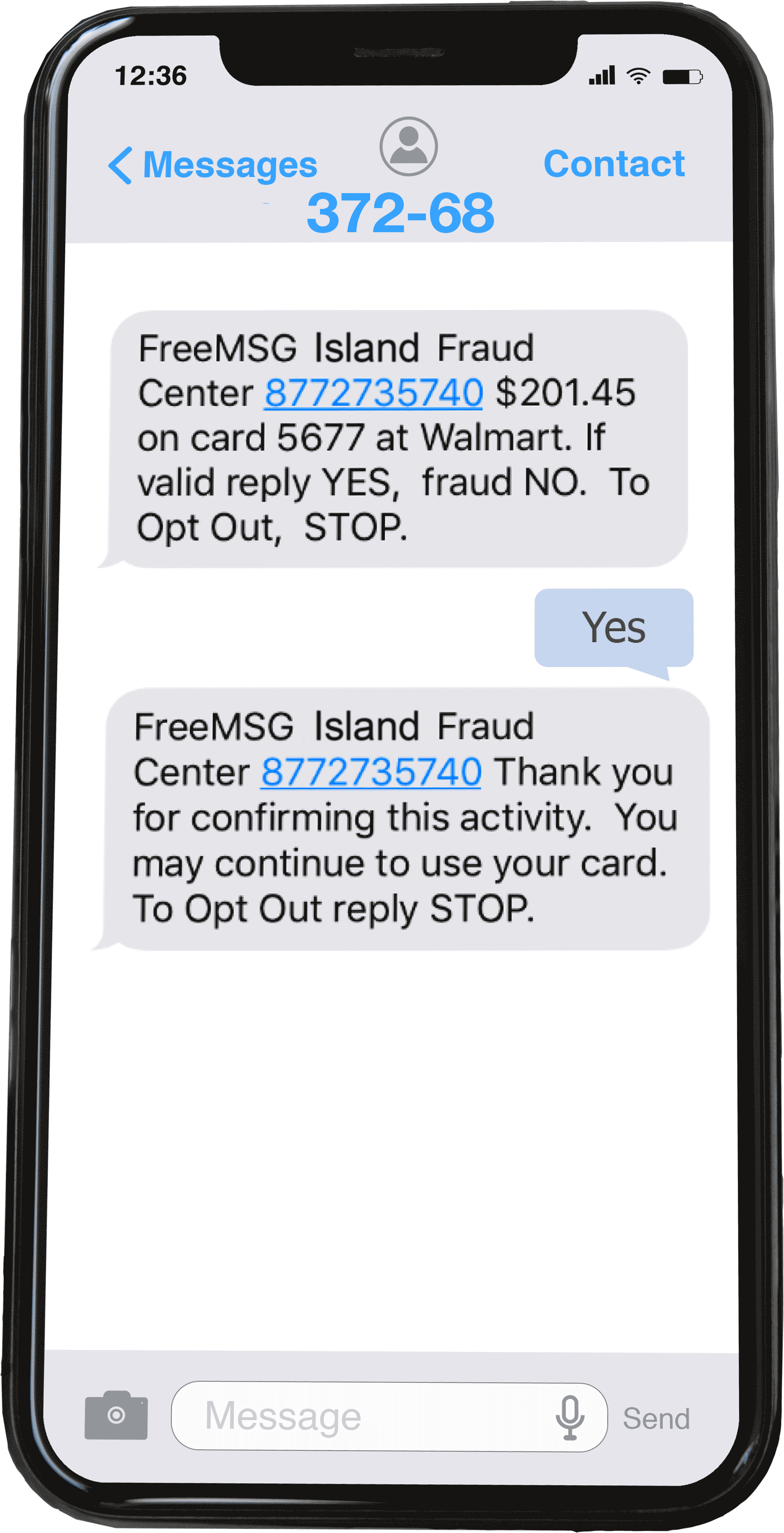 Fraud text cell phone